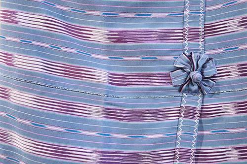 ตัวอย่างลายเสื้อชาวปกาเกอะญอสีฟ้าเทา