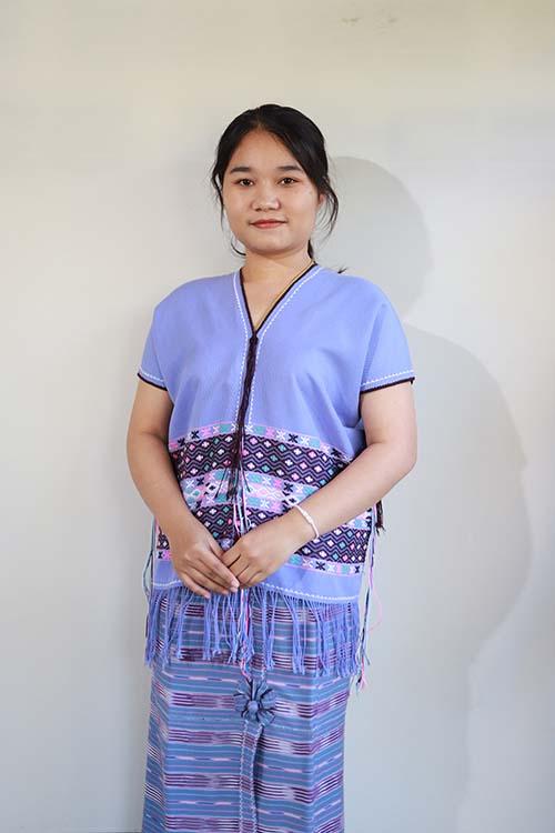 เสื้อชาวปกาเกอะญอสีฟ้าเทา